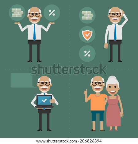 Older people, pension fund concept - stock vector