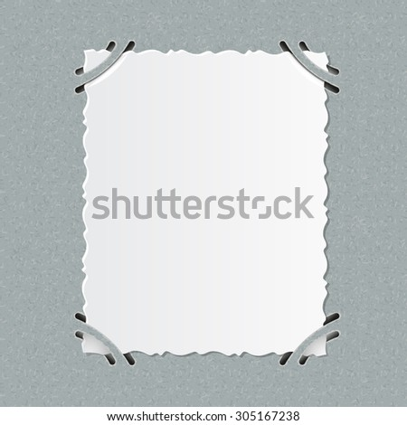 Older realistic photographs with rough edges inserted into corners square formats on a grey album page. - stock vector