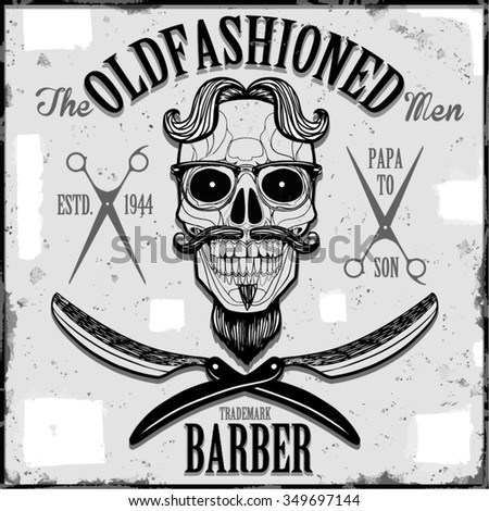 oldfashioned barber graphic - stock vector
