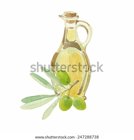Olive branch and a bottle of olive oil drawing by watercolor. Hand drawn isolated vector illustration on a white background.
