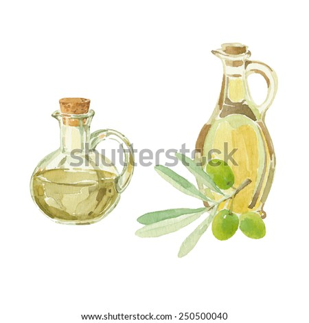 Olive branch and a bottles of olive oil drawing by watercolor. Hand drawn isolated vector illustration on a white background.
