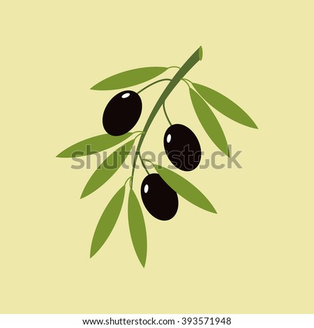 Olive branch icon on a green background. Vector illustration