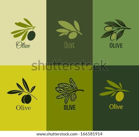 Olive branch. Set of labels. Vector illustration - stock vector