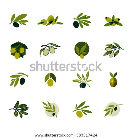 Olive branch. Set of vector logo design templates and icons - stock vector