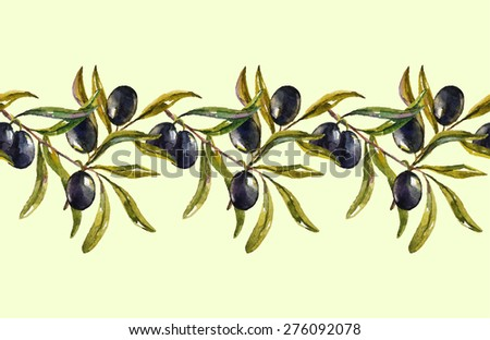olive branch. vector seamless pattern