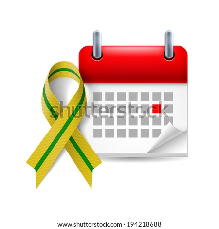 Olive-green awareness ribbon and calendar with marked day. Anniversary of liberation of Leningrad from the Nazi block during World War II - stock vector