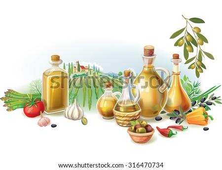Olive harvest against rural landscape - stock vector
