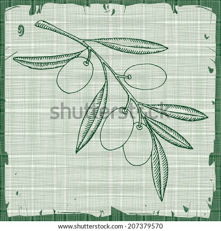 Olive illustration on abstract texture  - stock vector
