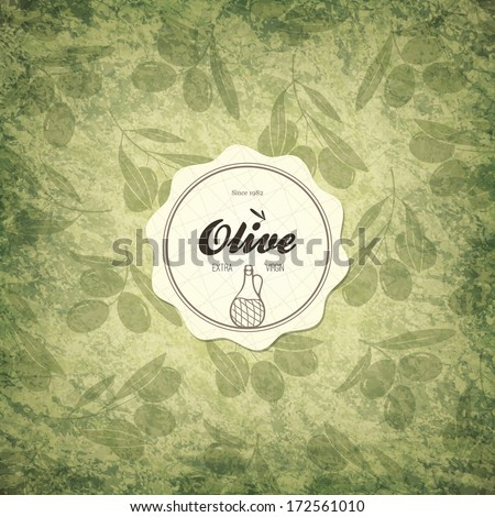 Olive label design - stock vector