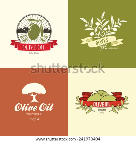 Olive label, logo design - stock vector