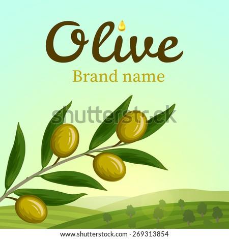 Olive label, logo design. Olive branch. Vector illustration - stock vector