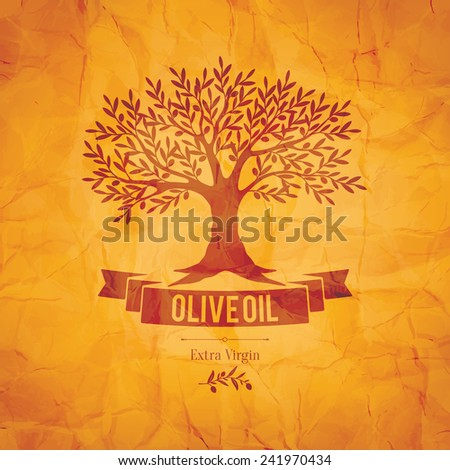Olive label, logo design. Olive tree - stock vector
