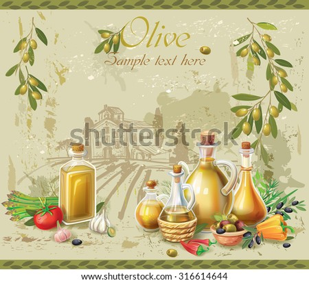 Olive oil and olives against country landscape - stock vector
