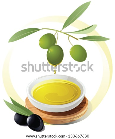 Olive oil dripping into a small bowl