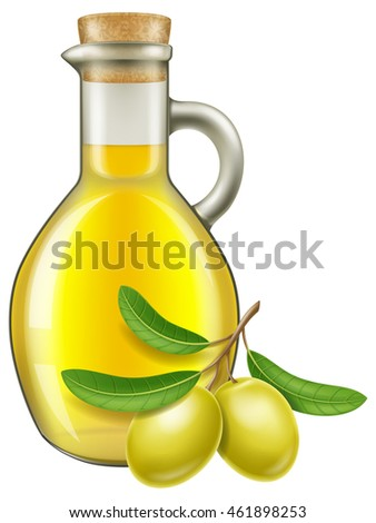 Olive oil in a jar with green olives. Vector illustration.