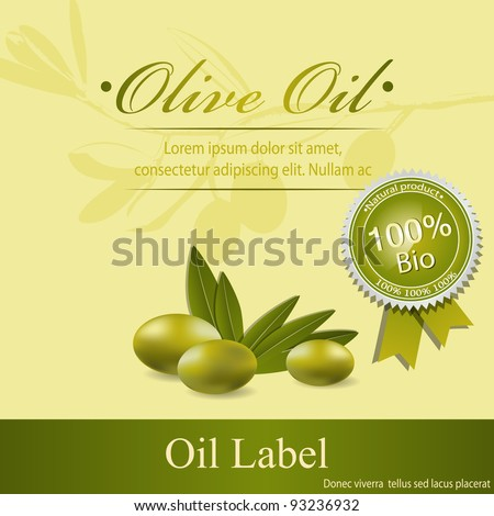 Olive oil label pattern - stock vector