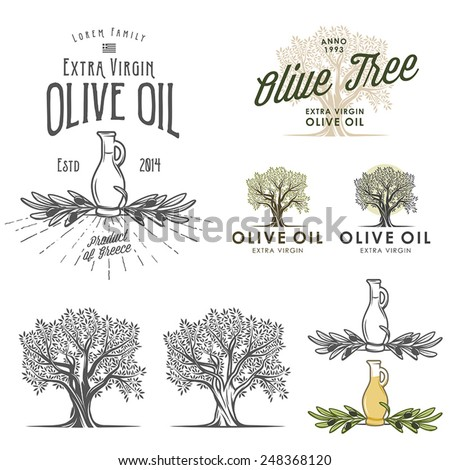 Olive oil labels and design elements - stock vector