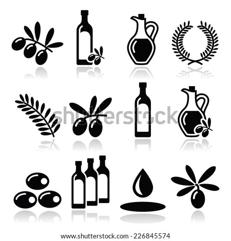 Olive oil, olive branch icons set    - stock vector