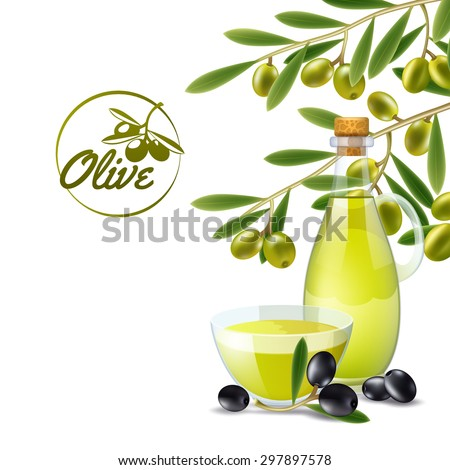 Olive oil pourer with branch of green olives decorative background poster print abstract vector illustration