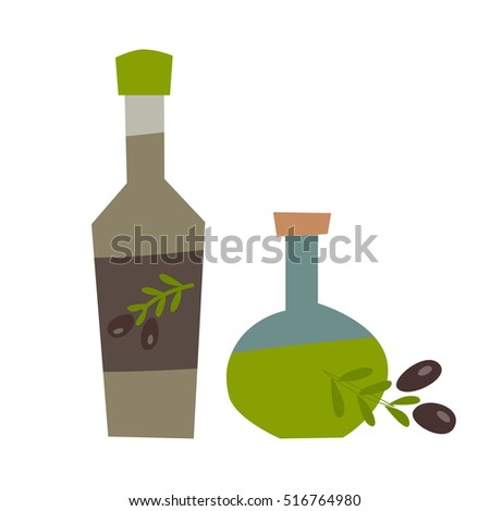 Olive oil vector illustration. Bottle and olive leaf. Organic extra oil cartoon style, bottle isolated on white background