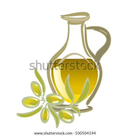 olive oil with green olives - stock vector