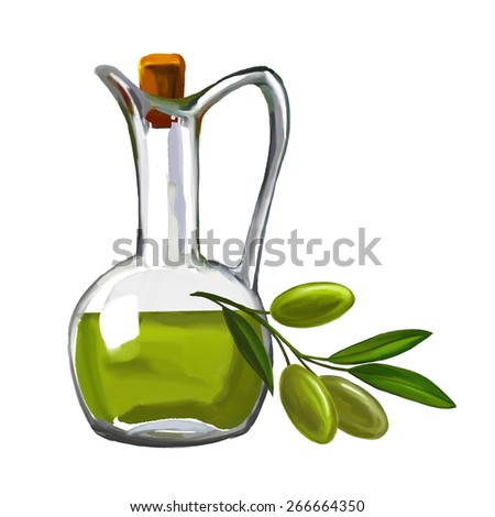 olive oil with olives vector illustration  hand drawn  painted watercolor  - stock vector