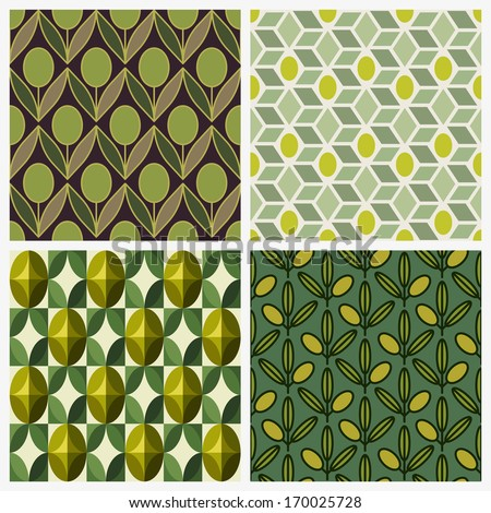 Olive. Set of seamless backgrounds - stock vector