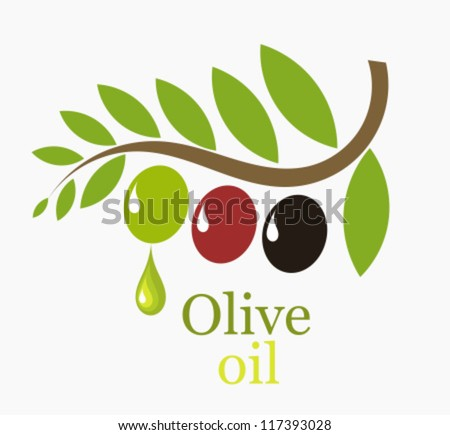 Olive tree branch with fruits - symbolic vector illustration - stock vector