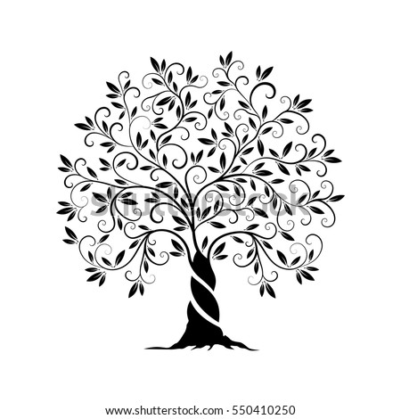 Olive Tree Outline Curl Silhouette Icon Stock Vector