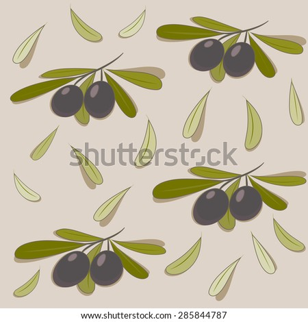 Olive with green leaves branch seamless background. vector design illustration.