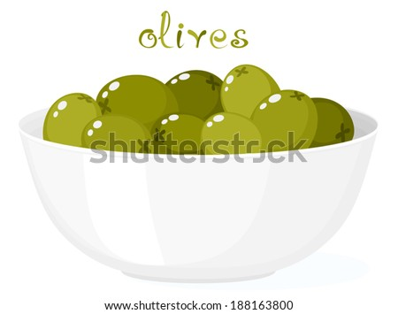 Olives in bowl. Illustration of tasty green olives on bowl. Cartoon food. Clip art with title. Isolated on white. Vector file is EPS8, all elements are grouped. - stock vector