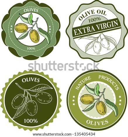 Olives labels collection - stock vector