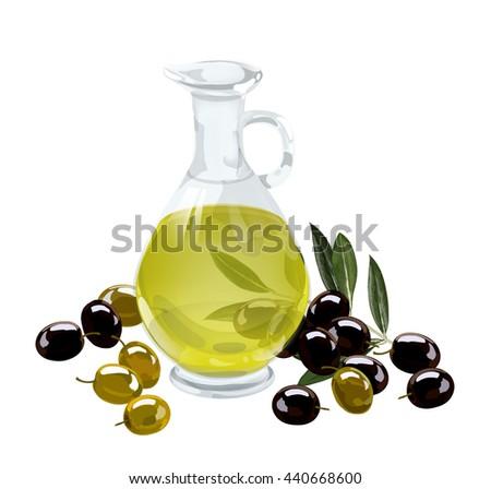 Olives. Olive oil. Vector illustration. Bottle with olive oil and olives. Sprig with olives. Do not traced. - stock vector