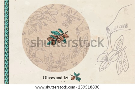 olives pattern background - stock vector
