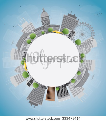 Olympia (Washington) Skyline with Grey Buildings and copy space. Business travel and tourism concept with place for text. Image for presentation, banner, placard and web site. Vector Illustration