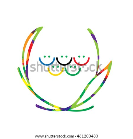 olympic games rings as color smiles in laurel leaf logotype olympic games fun concept