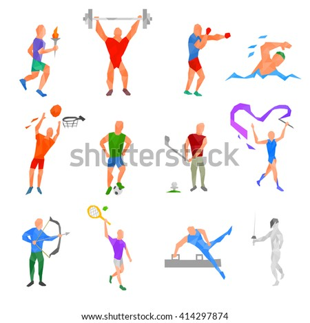 Olympic sports set. kinds of sports polygonal design. sports disciplines