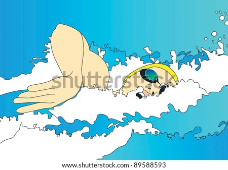 Olympic swimmer swimming - stock vector