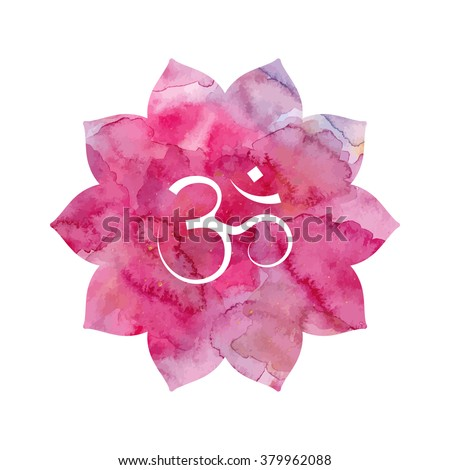 Om sign in lotus flower. Pink watercolor texture. Vector isolated. Spiritual Buddhist, Hindu symbol - stock vector
