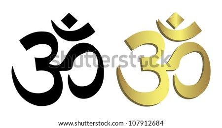 Om symbol in black and gold - stock vector