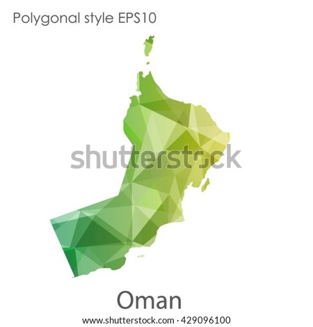 Oman map in geometric polygonal style.Abstract Oman map with triangle.Mosaic of Oman map background. - stock vector