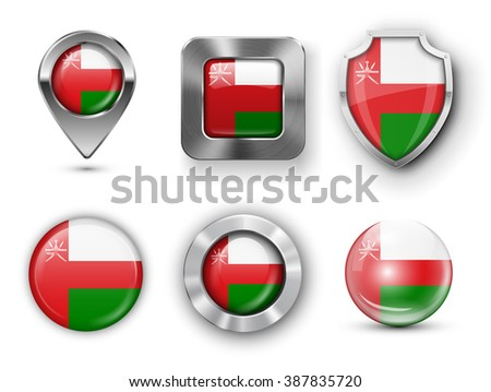 Oman Metal and Glass Flag Badges, Buttons, Map marker pin and Shields. Vector illustrations