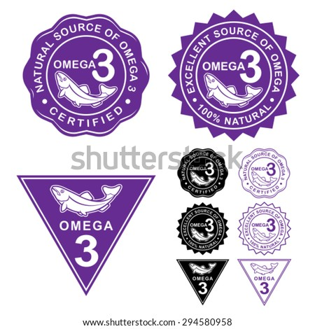 Omega 3 Certified Seals Icons Set