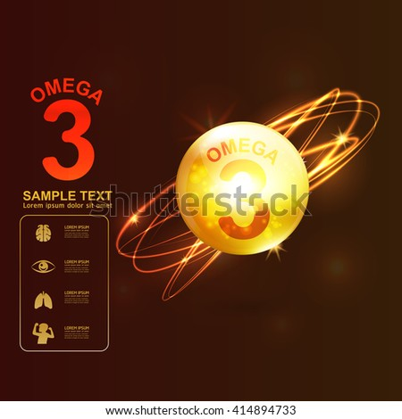 Omega 3 Nutrients for Kids Vector Concept