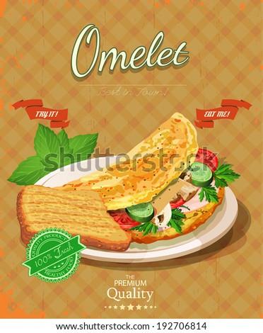 Omelet. Scrambled eggs. Vintage poster. - stock vector
