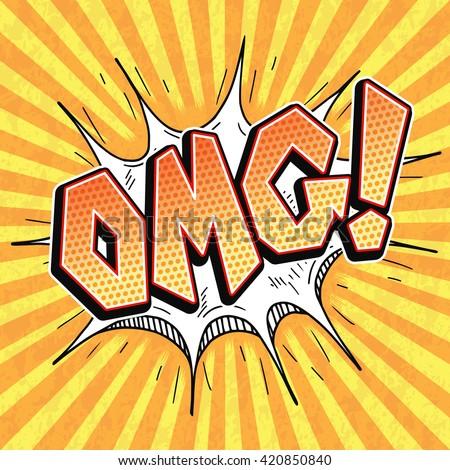 OMG comic word bubble pop art retro style, Oh My God comics abbreviation - stock vector