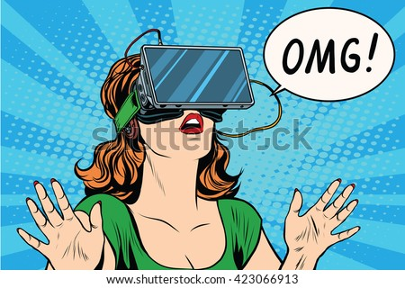 OMG emotions from virtual reality retro girl - stock vector