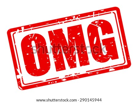 omg red stamp text on white - stock vector
