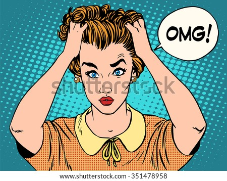 OMG the woman in shock pop art retro style. Emotions feelings of psychological stress. Beautiful girl upset that she had done. News and gossip - stock vector
