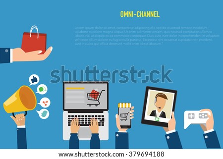 OMNI-Channel concept for digital marketing and online shopping.Illustration EPS10. - stock vector